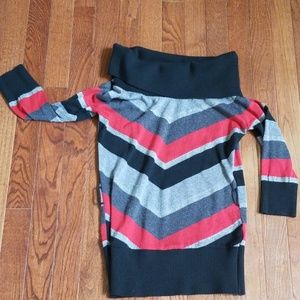 Red, black, gray and silver off shoulder sweater